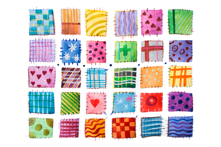 set of colorful prints patterns watercolor drawing.