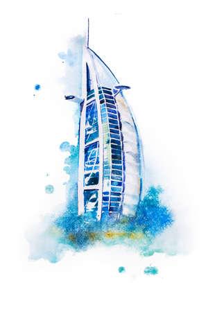 hotel resort: watercolor drawing of Dubai hotel. Burj Al Arab aquarelle painting.