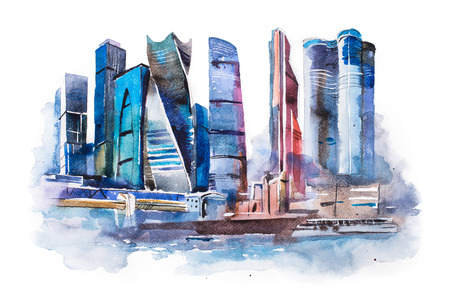 international business center: watercolor drawing of Moscow city. International Business Center aquarelle painting.