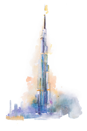 watercolor drawing of Burj Khalifa tower in Dubai.