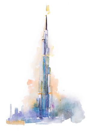 waterverftekening van de Burj Khalifa-toren in Dubai. Stockfoto