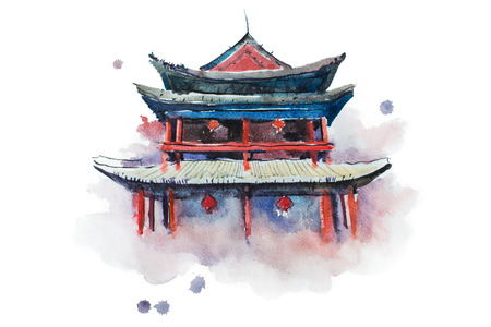 ming: Watercolour painting of Xian fortifications. Sian city wall, China aquarelle illustration Stock Photo