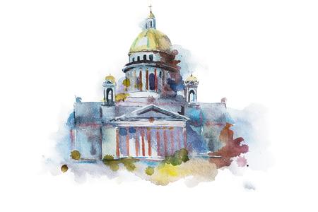 Hand geschilderde tekening van izaäkkathedraal in St. Petersburg. Traditionele Russische oriëntatiepunt, orthodox religieus symbool.