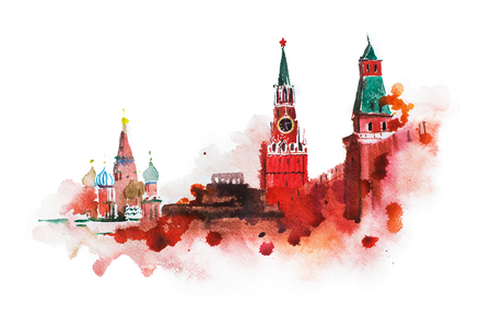 Kremlin, Red Square watercolor drawing. Moscow Russia landmark historical building illustration.