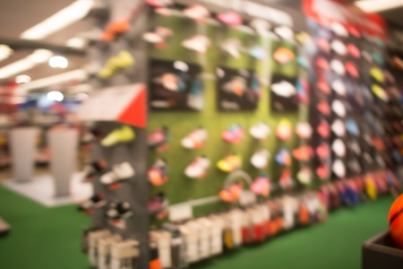 Sport store, shopping mall abstract defocused blurred background