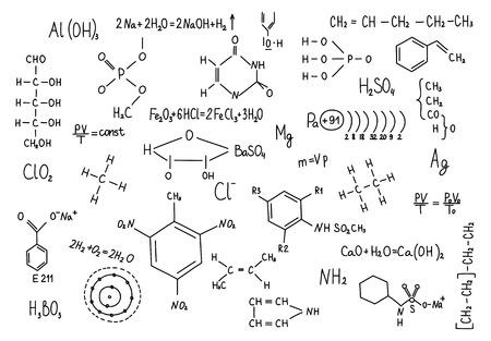 dibujados a mano fórmulas de la química de educación conocimiento Ciencia.