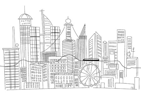 city buildings: Hand drawn business center of big city street skyscrapers megapolis buildings concept real estate architecture, commercial building.