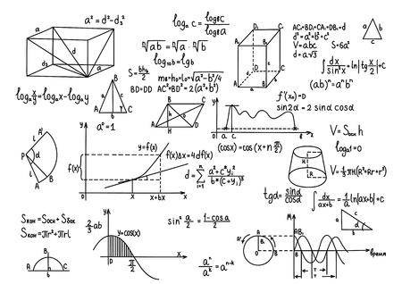 cosine: Hand drawn geometry formulas Science knowledge education Illustration