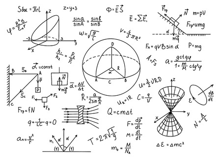 hypothesis: Hand drawn physics formulas Science knowledge education Illustration