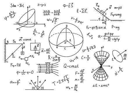axiom: Hand drawn physics formulas Science knowledge education Illustration