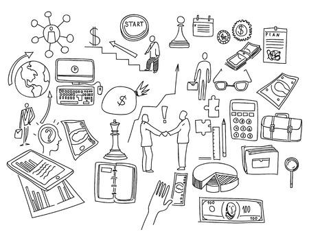 economic: Hand draw doodle elements. Business finance chart graph.