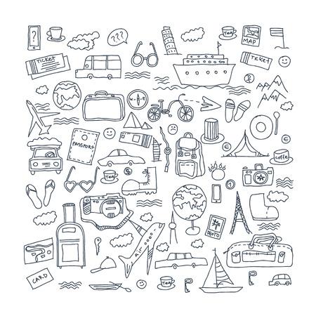 hot tour: Hand drawn travel, tourism doodles elements illustration