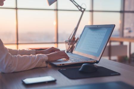 Empresária adulta trabalhando em casa usando computador, estudando idéias de negócios em uma tela de PC on-line Imagens