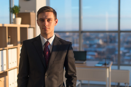 a large bird of prey: Close-up portrait of a young handsome businessman, looking seriously at camera, standing in light office over the large window background Stock Photo