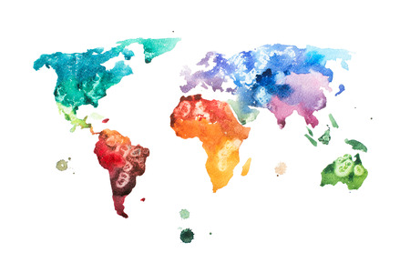 Hand drawn watercolor world map aquarelle illustration