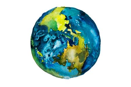 Hand gezeichnet Aquarell Erde. Globe gemalt mit Wasserfarben Standard-Bild - 59994950