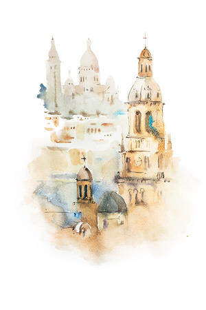 european: Cityscape watercolor drawing, hand drawn aquarelle painting Stock Photo