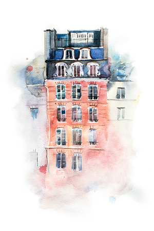 aquarelle: Cityscape watercolor drawing, hand drawn aquarelle painting Stock Photo