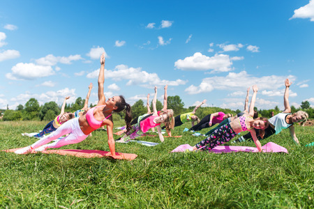 Group of fit girls going side plank exercise in nature on a sunny day