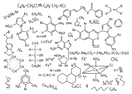 Hand drawn chemistry formulas Science knowledge education. Stock Photo