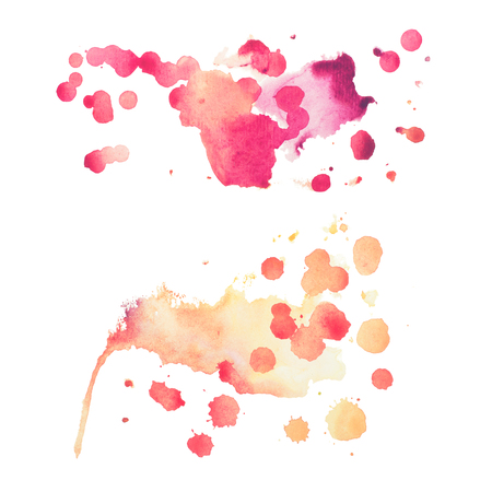 droplets: Abstract watercolor aquarelle hand drawn colorful shapes art red color paint or blood splatter stain.