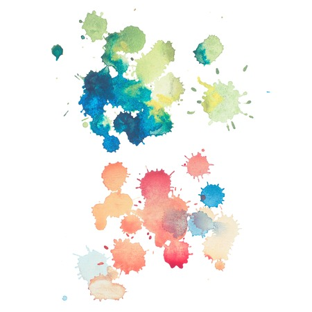 colorful retro vintage abstract watercolour aquarelle art hand paint on white background.