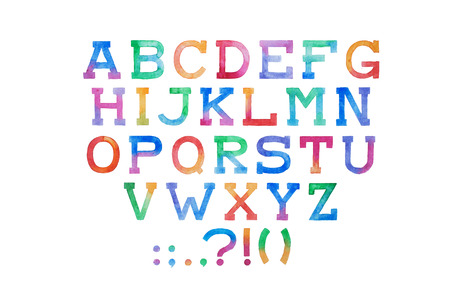 letters of the alphabet: Colorful watercolor aquarelle font type handwritten hand draw abc alphabet letters. Stock Photo