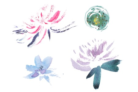 fresh flowers: watercolor drawing of fresh garden flowers, summer meadow bouquet aquarelle painting. Stock Photo