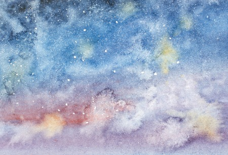 Night sky with stars hand drawn watercolor