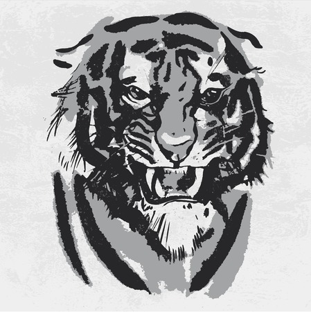 Watercolor drawing of angry looking tiger. Animal portrait on white background Illustration