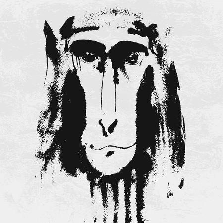 aquarelle: Watercolor portrait of grey furry monkey. Aquarelle drawing 2016 symbol. Illustration