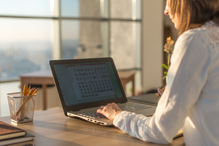 Female writer typing using laptop keyboard at her workplace in the morning. Woman writing blogs online, side view close-up picture Stock Photo