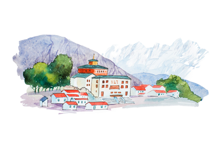 austrian village: Small european village in mountains watercolor illustration.