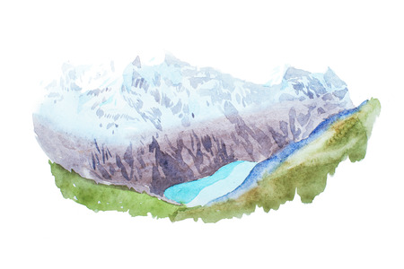 Mountains lake snow coverd peaks watercolour illustration. Stock Photo