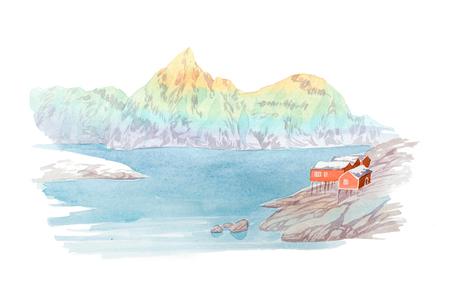 Natuurlijke landschap bergen en rivier waterverf illustratie Stockfoto