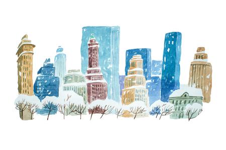 白雪 aquarelle 絵画水彩描画冬都市の景観都市 写真素材