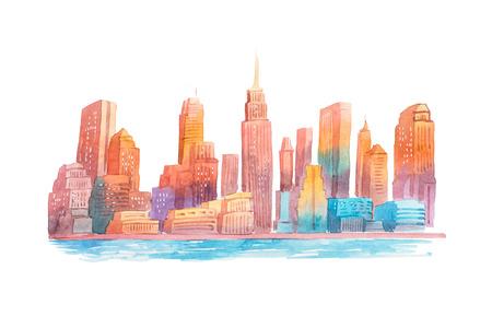 iluminado a contraluz: Gráfico de la acuarela por la noche de la ciudad en la pintura acuarela atardecer paisaje urbano.