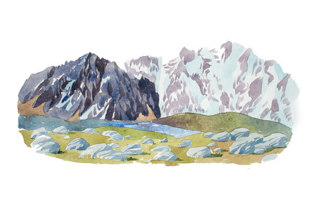 Natural landscape mountains and stones watercolor illustration
