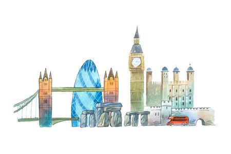downtown district: City of London Skyline famous landmarks travel and tourism waercolor illustration.