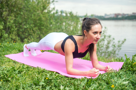 vitality: Fit woman working on back and abdominal muscles, doing plank exercise abs core workout in nature.