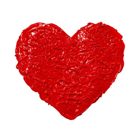 parejas amor: Acrílico mano del corazón ilustración dibujados pintura aguada