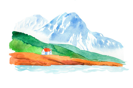 snowy hill: Natural landscape mountains and house watercolor illustration.