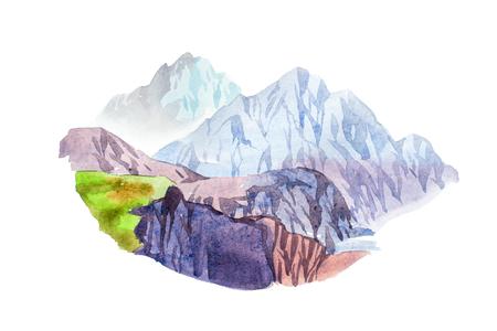 Rotsachtige illustratie van de het landschapswaterverf van het berglandschap natuurlijke Stockfoto