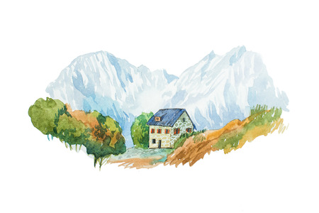 Villa and garden in mountains watercolor illustration. Stock Photo