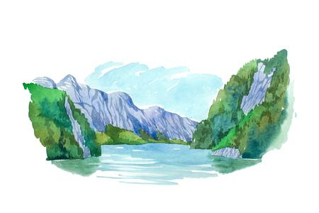 montagna: estate naturale montagne paesaggio e illustrazione lago acquerello. Archivio Fotografico