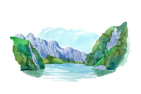 mountain view: Natural summer landscape mountains and lake watercolor illustration.
