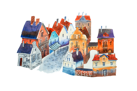 artwork: Watercolor cityscape. Illustration of old European town street with houses and block-stone pavement