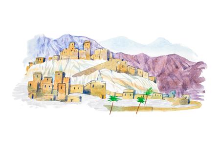 Warecolor Illustration Wüste Stadt Aquarell Zeichnungen Stadtbild Standard-Bild - 74656282