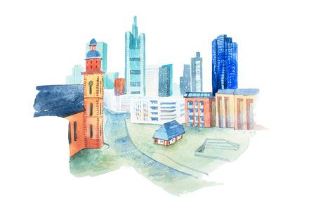 작은 집과 현대 도시의 수채화 그림