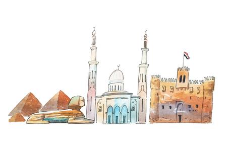 Cairo Egypt Skyline famous landmarks travel and tourism waercolor illustration.